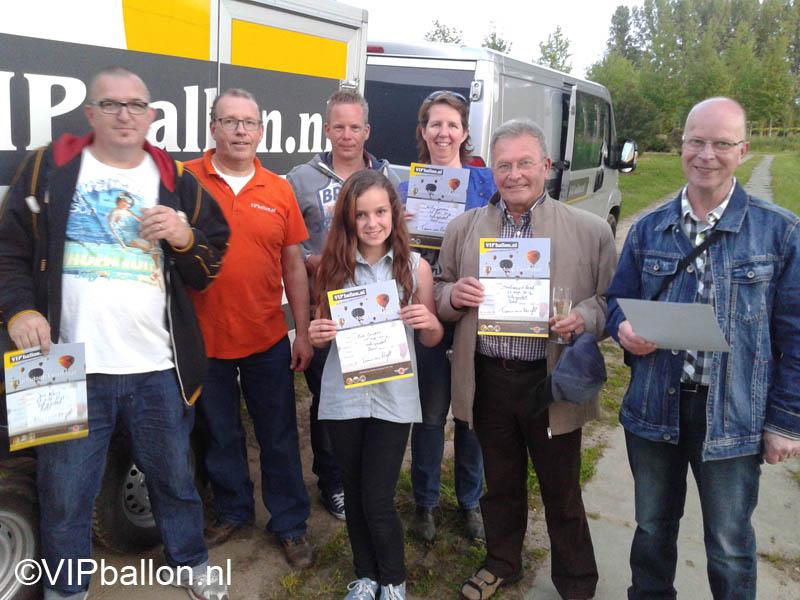 Ballonvaren vanuit Schijndel met winnaars FB actie Hartemert Schijndel
