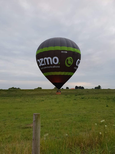 Landing luchtballon bij Pannerden
